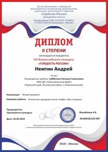Немтин Андрей - диплом II степени гордость-россии